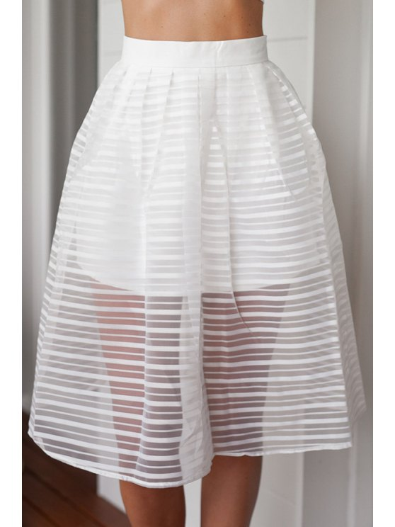 affordable Stripe See-Through Solid Color Skirt - WHITE S