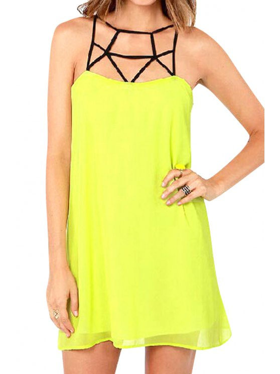 ladies Yellow Spaghetti Strap Dress - YELLOW S