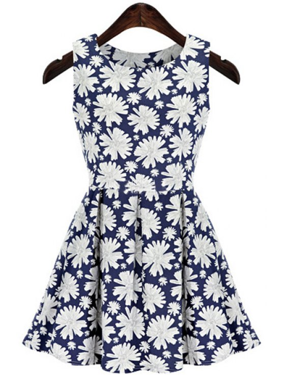 unique Full Floral Print Sleeveless Dress - BLUE AND WHITE S