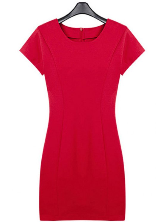 affordable Slimming Solid Color Short Sleeve Dress - RED S