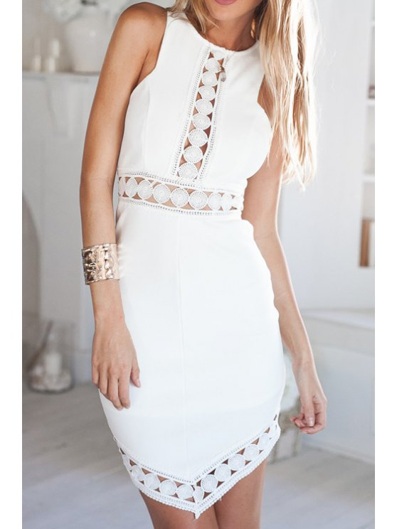 ladies Hollow White Sleeveless Dress - WHITE S