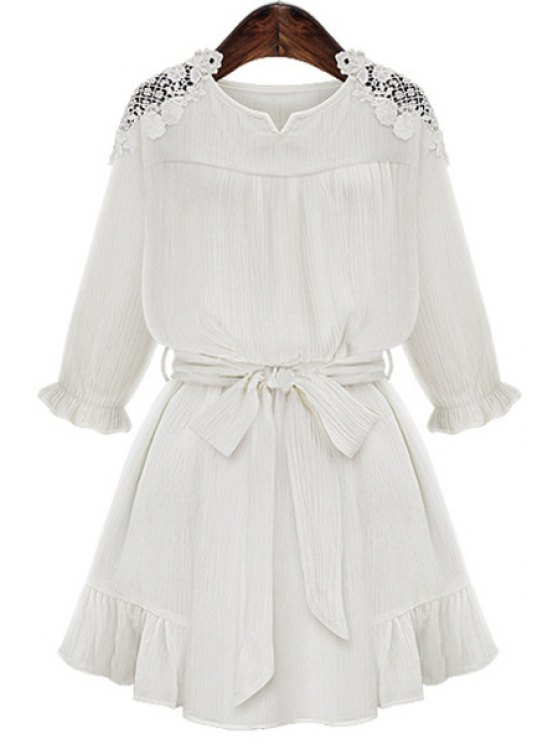 women's Lace Splicing Flounce Tie-Up 3/4 Sleeve Dress - WHITE S