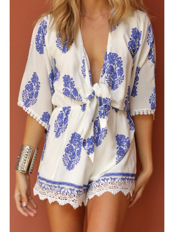 outfits Blue Leaves Print Half Sleeve Romper - BLUE AND WHITE S