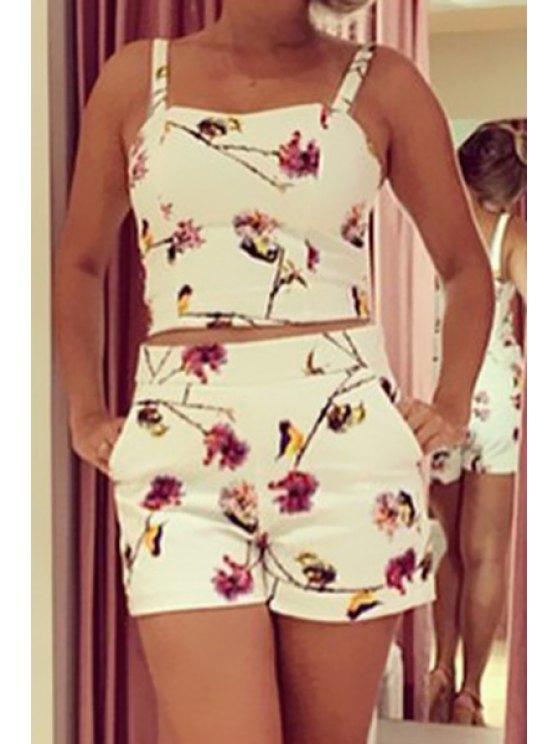 womens Spaghetti Strap Tank Top + Floral Print Shorts Twinset - WHITE S