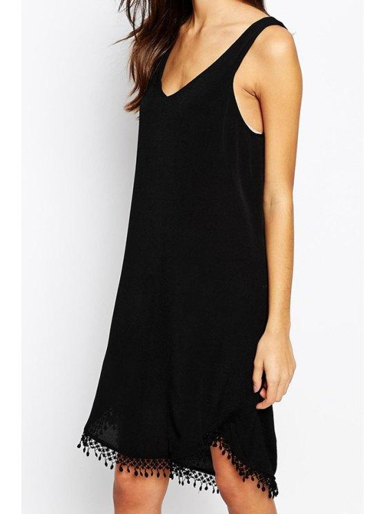 chic Black Sleeveless Asymmetric Tassel Backless Dress - BLACK S