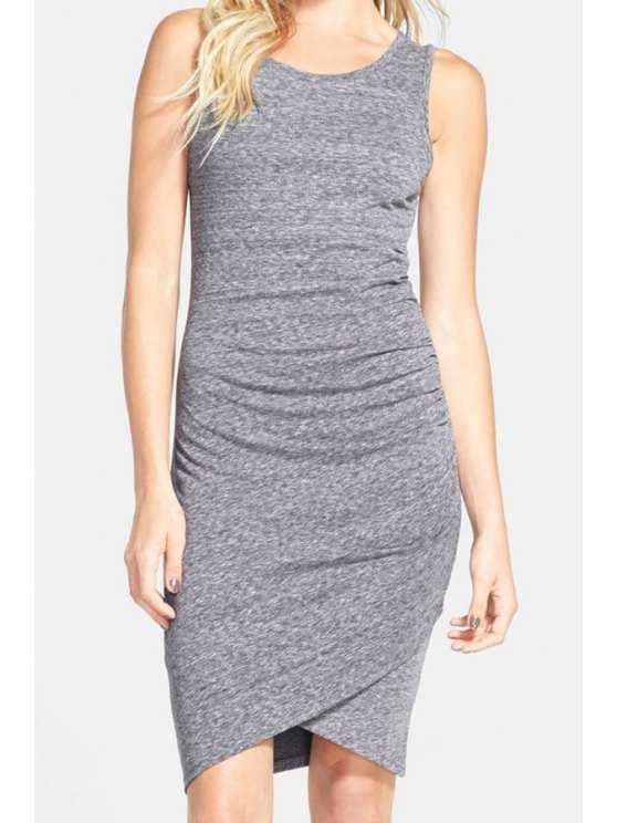 outfits Grey Sleeveless Ruched Wrap Front Dress - GRAY S