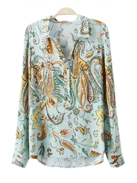 women's Color Block Paisley Print Long Sleeve Shirt - LIGHT GREEN L