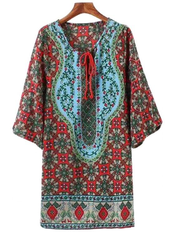 hot V-Neck Tie-Up Tiny Floral Print Dress - COLORMIX S