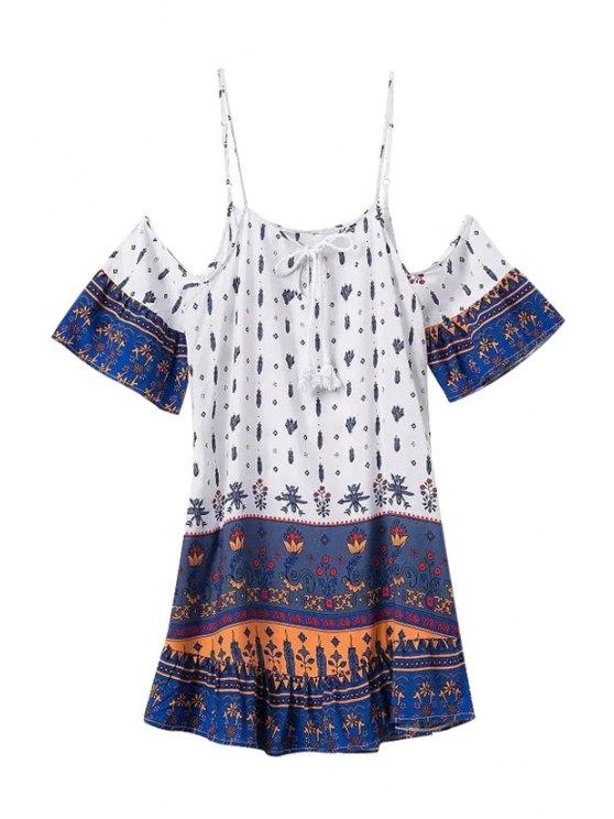 hot Spaghetti Strap Floral Print Tie-Up Short Sleeve Dress - WHITE XL
