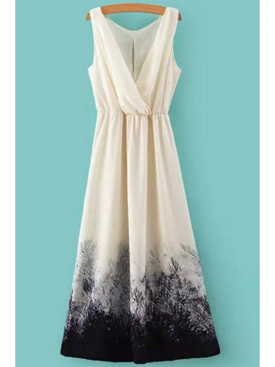 outfit Color Block Print Elastic Waist Maxi Dress - WHITE S