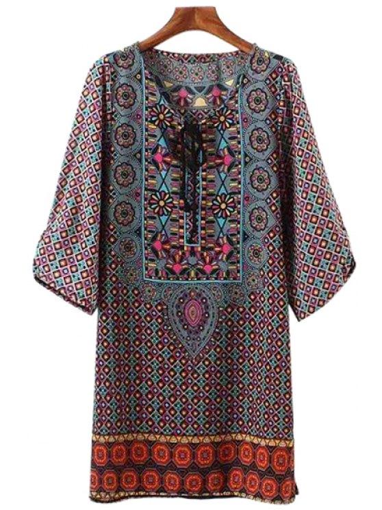sale Plaid Floral Print Tie-Up 3/4 Sleeve Dress - COLORMIX S