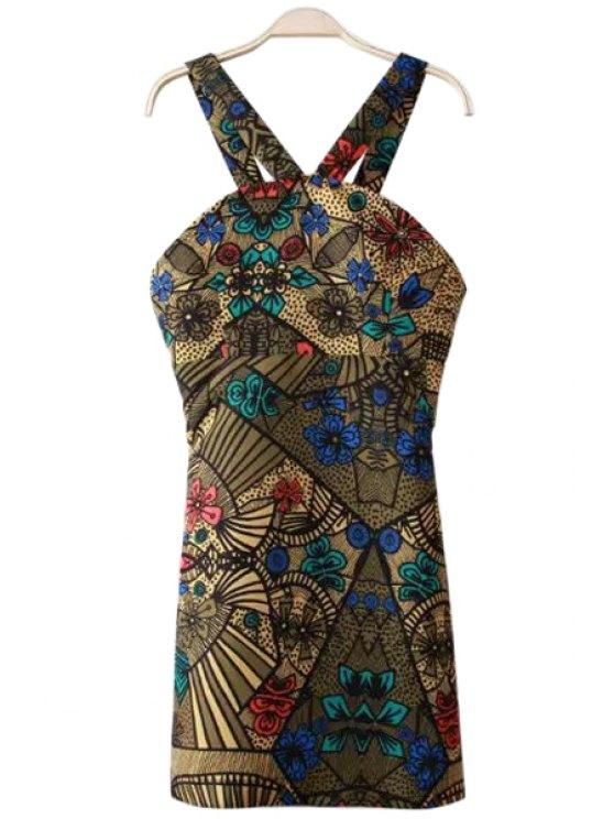 ladies V-Neck Color Block Floral Print Dress - COLORMIX S