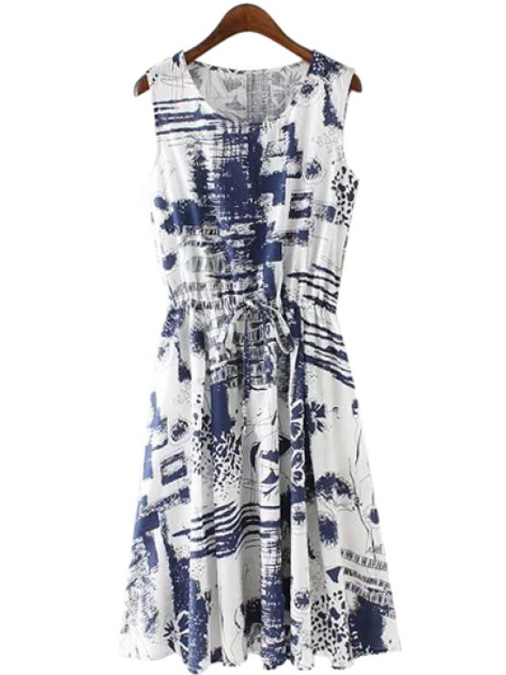 online Blue Ink Floral Print Tie-Up Dress - BLUE AND WHITE S