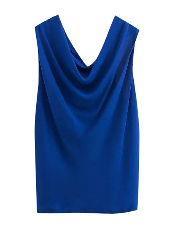 buy V-Neck Solid Color Sleeveless Tank Top - BLUE S