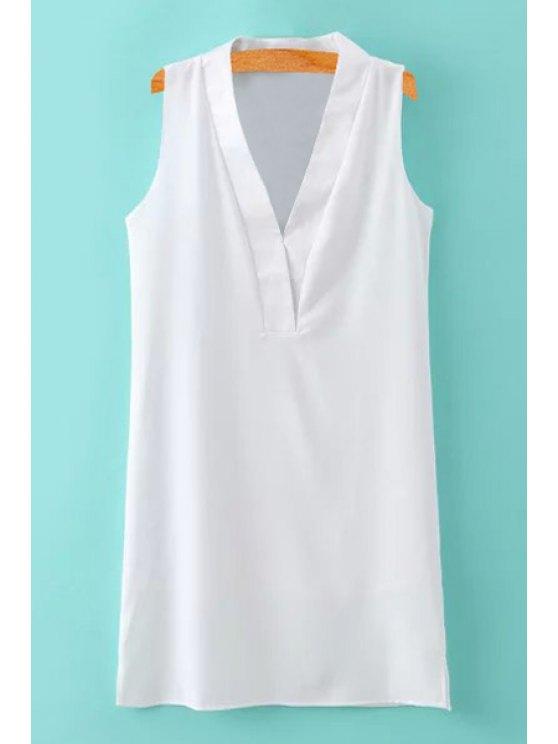 new V-Neck Slit Solid Color Sleeveless Dress - WHITE S