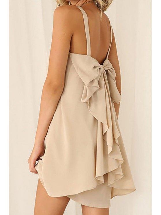 new Chiffon Bowknot Embellished Dress - OFF-WHITE S