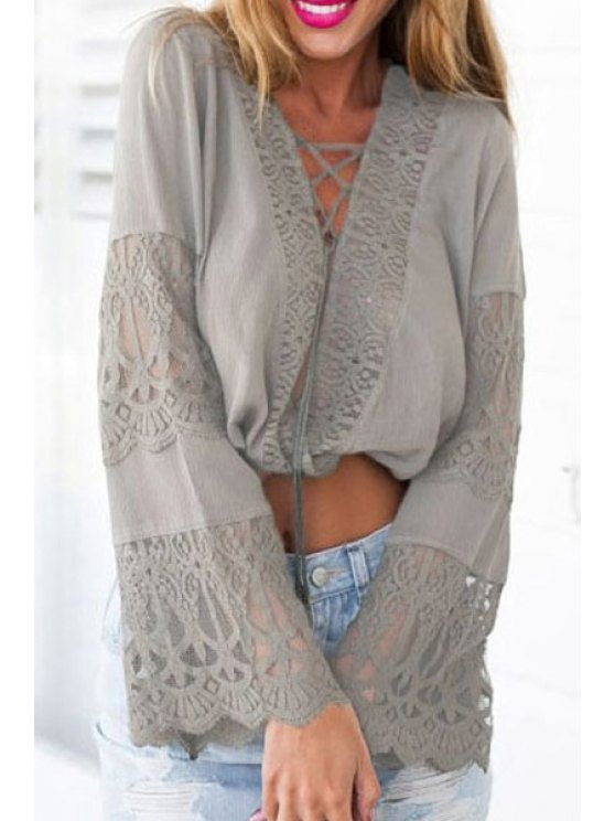 shop Tie-Up Solid Color Openwork Crop Top - GRAY ONE SIZE(FIT SIZE XS TO M)