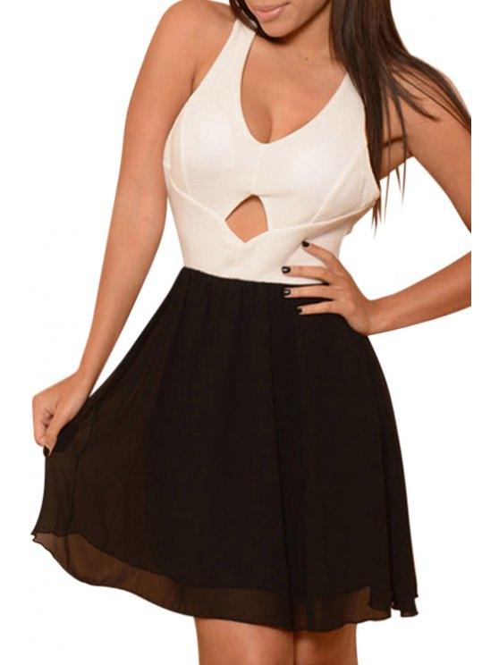 ladies Backless Bowknot Chiffon Splicing Dress - BLACK ONE SIZE(FIT SIZE XS TO M)
