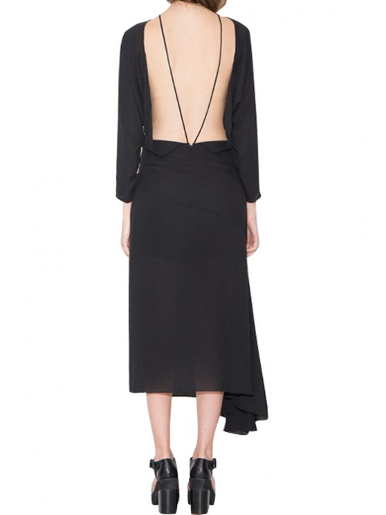 hot Backless Asymmetrical Solid Color Long Sleeve Dress - BLACK S