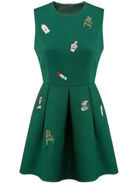 sale Round Neck Embroidery Zippered Dress - GREEN S