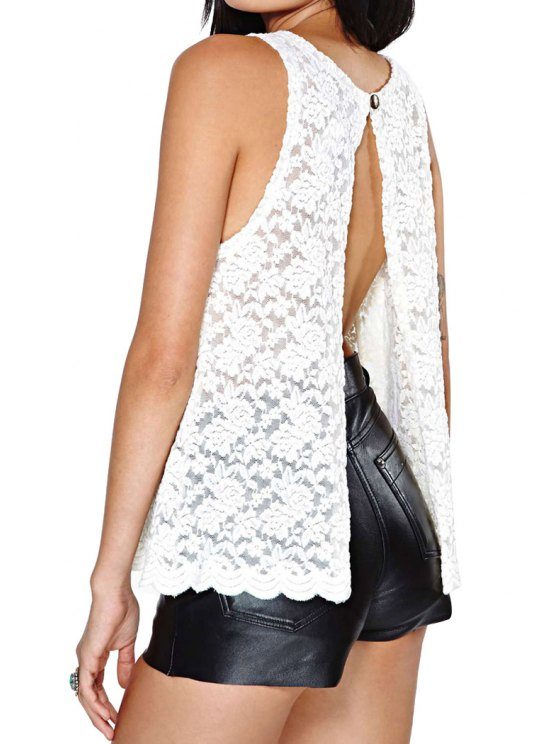 new Open Slit Back Lace Tank Top - WHITE S