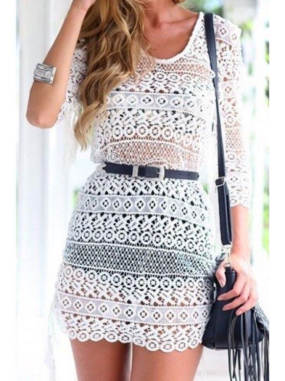 women's White Lace See-Through 3/4 Sleeve Dress - WHITE S