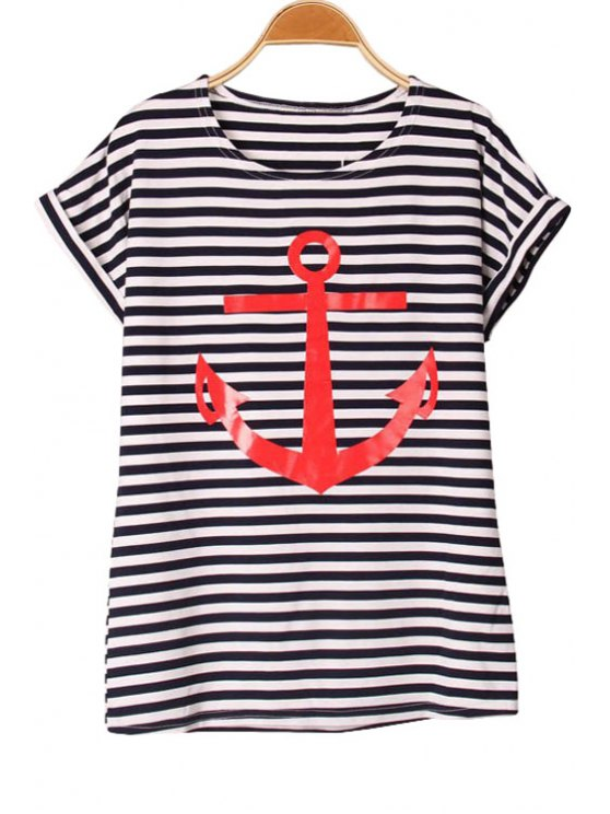 outfits Short Sleeve Anchor Print T-Shirt - RED S