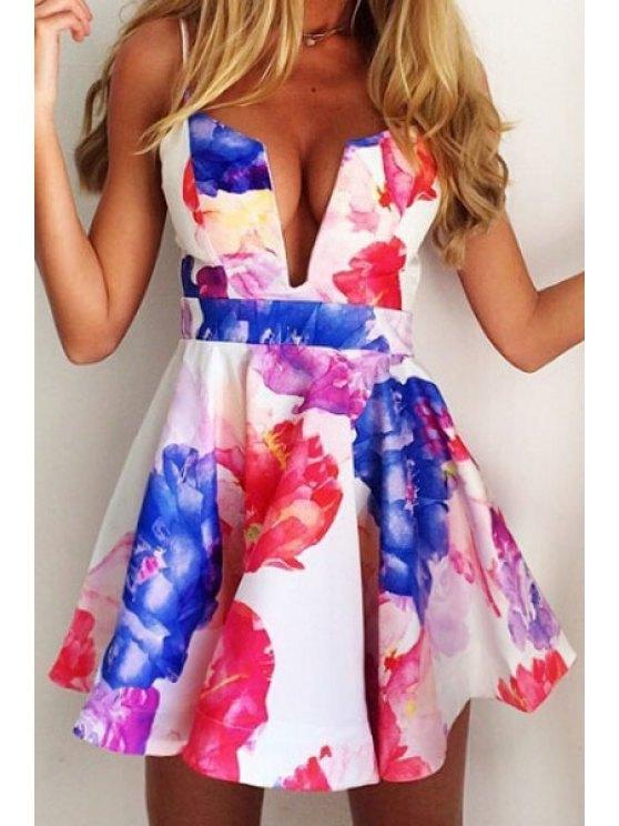 womens Flower Print Spaghetti Strap A-Line Dress - WHITE L