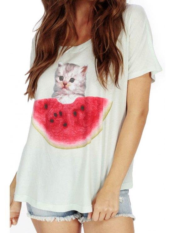 womens Short Sleeve Watermelon Print T-Shirt - WHITE S
