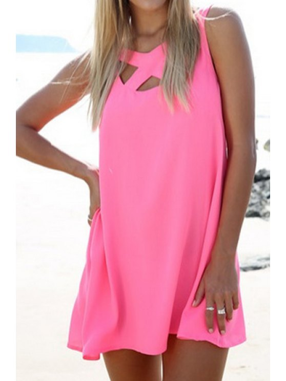 outfits Solid Color Hollow V-Neck Sleeveless Dress - PINK S
