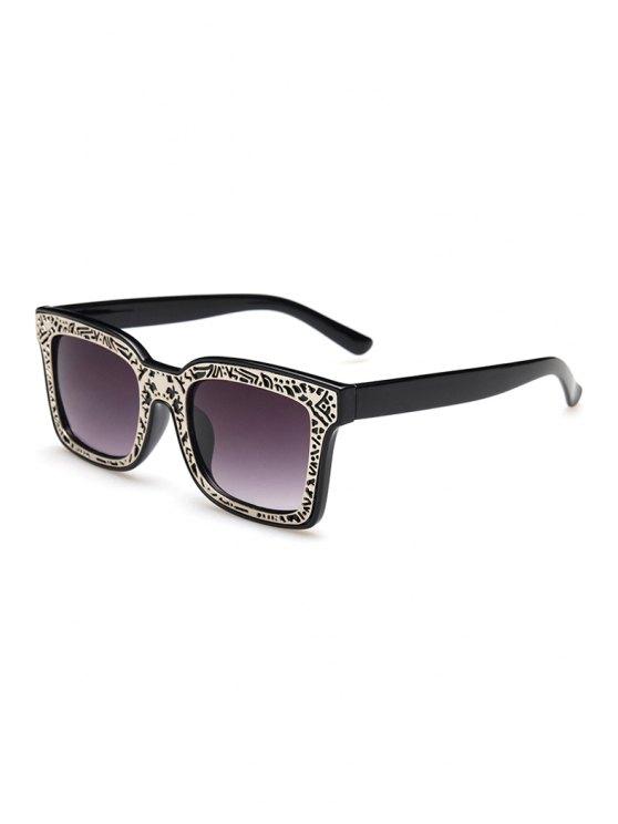 trendy Hollow Out Alloy Carve Sunglasses - BLACK