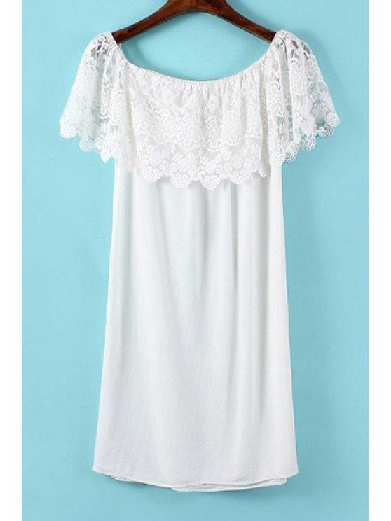 women Slash Neck White Lace Splicing Dress - WHITE S