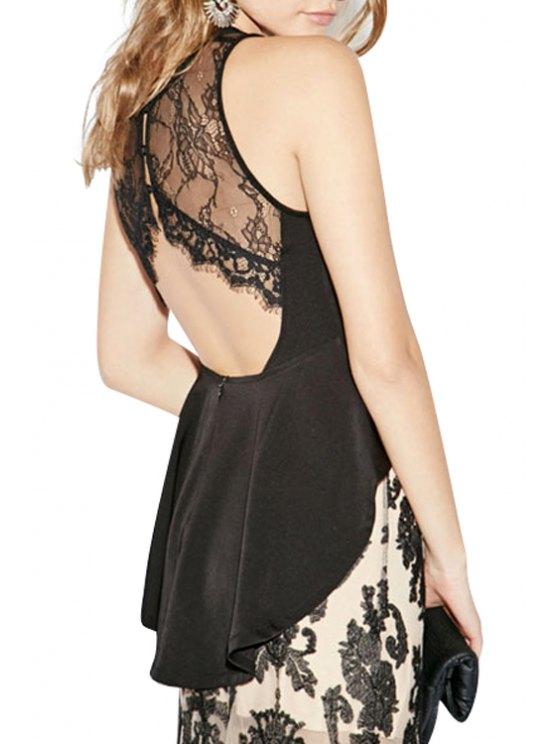 sale Lace Spliced Ruffles Sleeveless Blouse - BLACK S