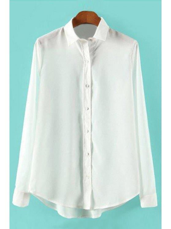 shops Solid Color Polo Collar Asymmetrical Shirt - WHITE S