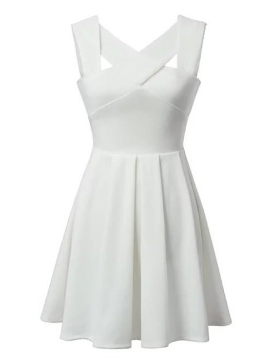 shops Cross Openwork Solid Color Sleeveless Dress - WHITE S