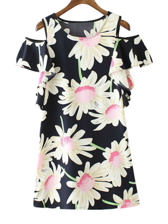 hot Floral Print Off-The-Shoulder Short Sleeve Dress - BLACK S