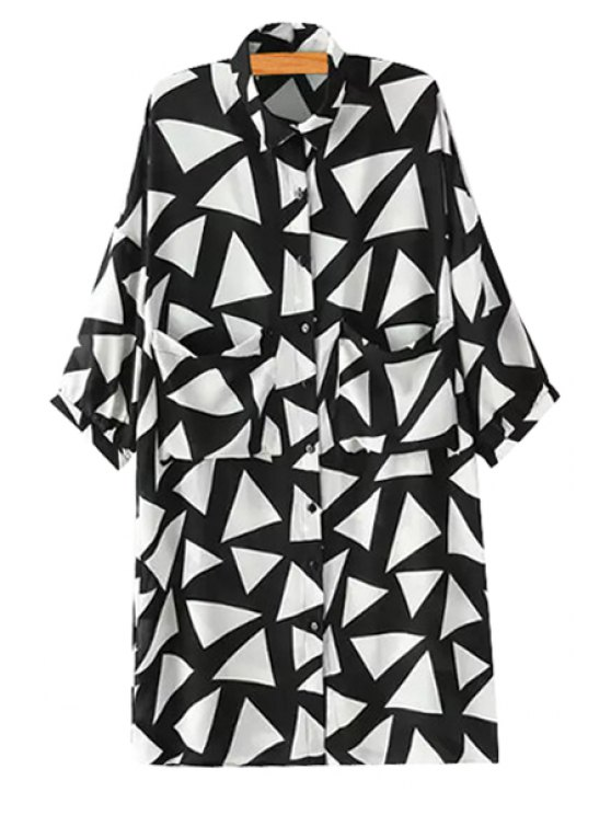 best Triangle Pattern Pocket Half Sleeve Shirt - WHITE AND BLACK S