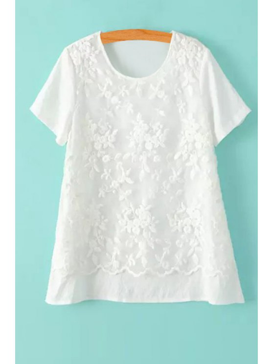sale Floral Embroidery Voile Splicing Short Sleeve T-Shirt - WHITE M