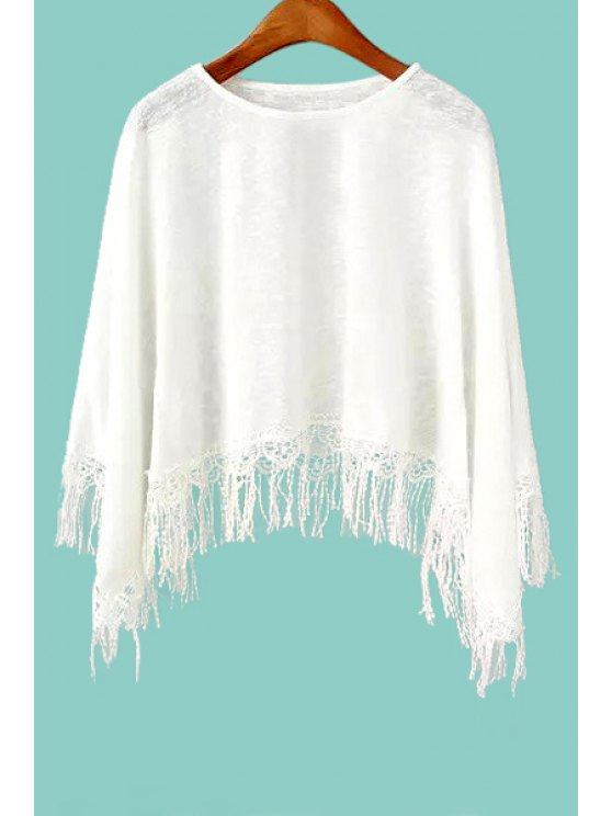 ladies Solid Color Fringe Long Sleeve T-Shirt - WHITE S