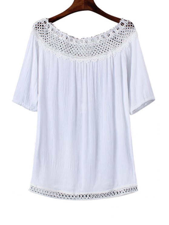 online Slash Neck Lace Splicing Openwork T-Shirt - WHITE ONE SIZE(FIT SIZE XS TO M)