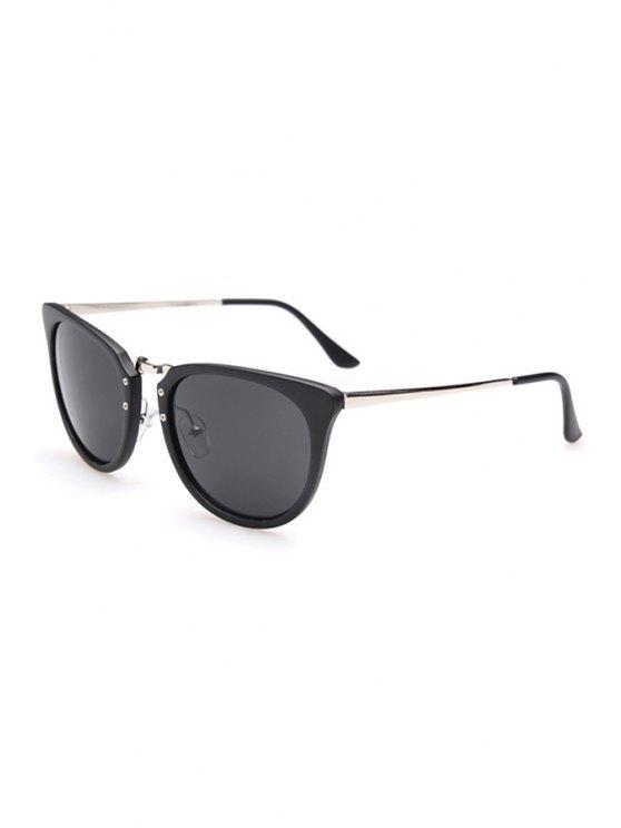 ladies Alloy Splice Oval Frame Sunglasses - SILVER