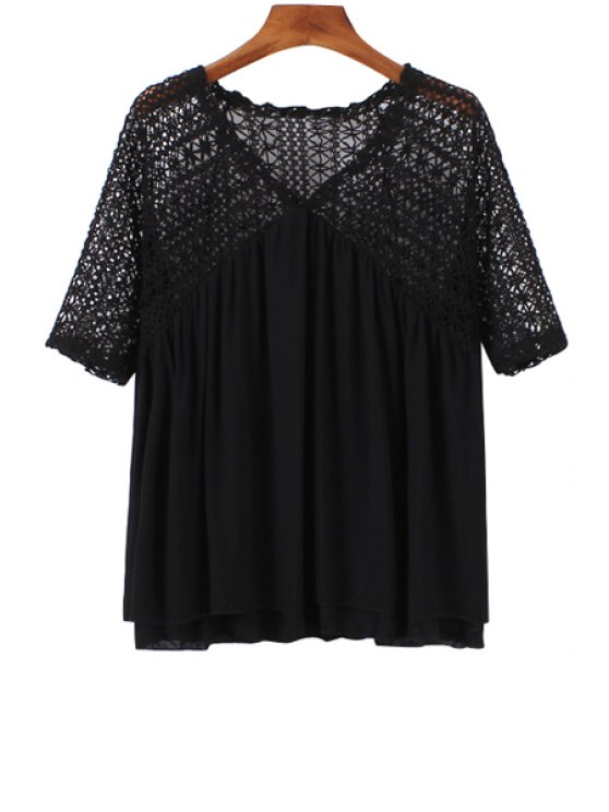 new Solid Color Openwork Knit Splicing T-Shirt - BLACK ONE SIZE(FIT SIZE XS TO M)