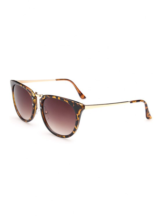 hot Alloy Splice Leopard Frame Sunglasses - DEEP BROWN