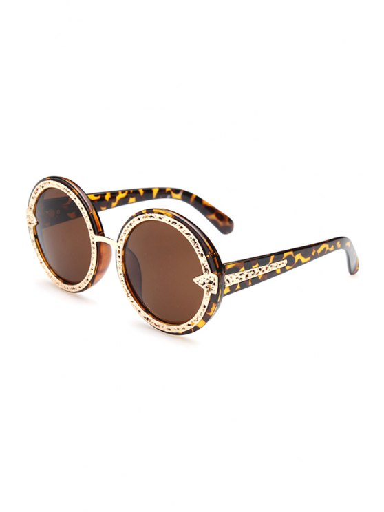 unique Hollow Out Alloy Splice Leopard Sunglasses - DEEP BROWN