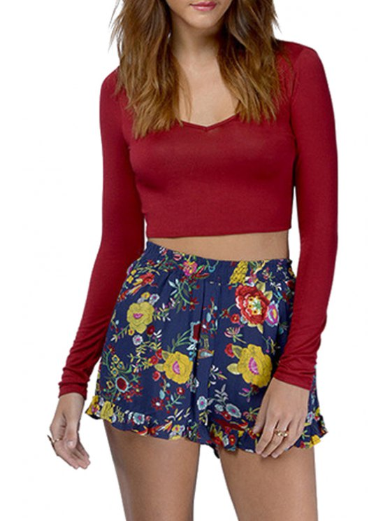 women Solid Color Long Sleeve Lace-Up Crop Top - RED S