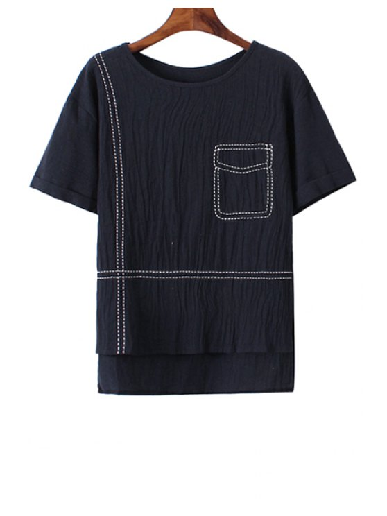 outfits Pocket Pattern Embroidery High Low T-Shirt - CADETBLUE ONE SIZE(FIT SIZE XS TO M)