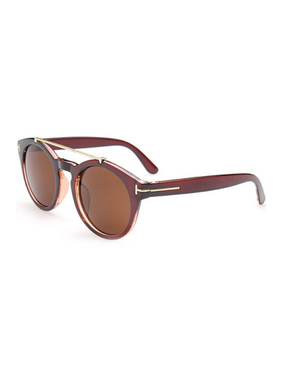 lady Alloy Embellished Solid Color Sunglasses - TEA-COLORED