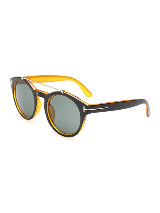 outfit Alloy Splice Color Block Sunglasses - YELLOW