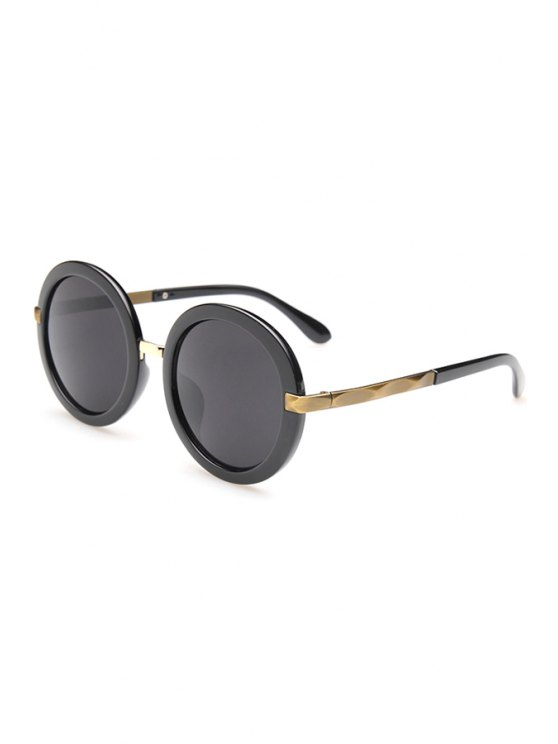 ladies Unsmooth Alloy Splice Round Sunglasses - GOLDEN