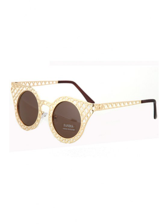 lady Hollow Out Golden Mesh Sunglasses - TEA-COLORED
